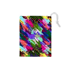 Tropical Jungle Print And Color Trends Drawstring Pouches (Small)