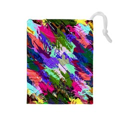 Tropical Jungle Print And Color Trends Drawstring Pouches (large)