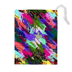 Tropical Jungle Print And Color Trends Drawstring Pouches (Extra Large)