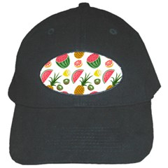 Fruits Pattern Black Cap