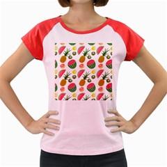 Fruits Pattern Women s Cap Sleeve T Shirt