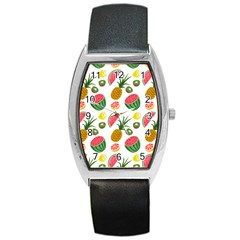 Fruits Pattern Barrel Style Metal Watch