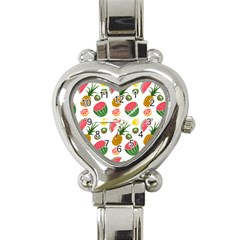 Fruits Pattern Heart Italian Charm Watch
