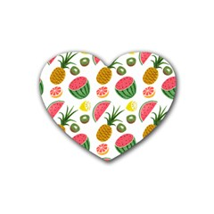 Fruits Pattern Heart Coaster (4 pack)