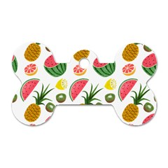 Fruits Pattern Dog Tag Bone (Two Sides)