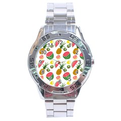 Fruits Pattern Stainless Steel Analogue Watch