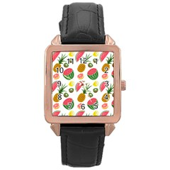 Fruits Pattern Rose Gold Leather Watch