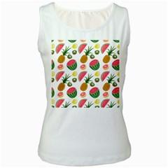 Fruits Pattern Women s White Tank Top