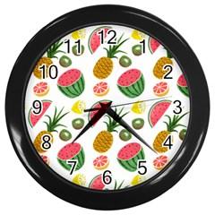 Fruits Pattern Wall Clocks (black)