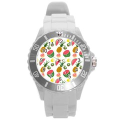 Fruits Pattern Round Plastic Sport Watch (l)