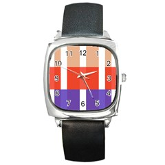 Compound Grid Square Metal Watch