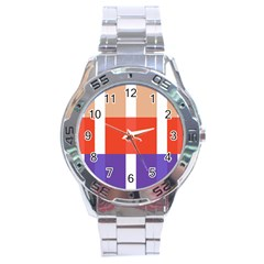 Compound Grid Stainless Steel Analogue Watch