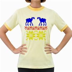 Jacquard With Elks Women s Fitted Ringer T-Shirts