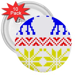 Jacquard With Elks 3  Buttons (10 Pack)