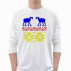 Jacquard With Elks White Long Sleeve T-Shirts