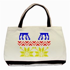 Jacquard With Elks Basic Tote Bag (two Sides)