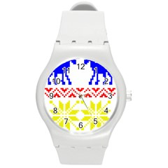 Jacquard With Elks Round Plastic Sport Watch (m)