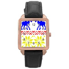 Jacquard With Elks Rose Gold Leather Watch