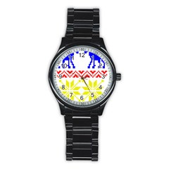 Jacquard With Elks Stainless Steel Round Watch