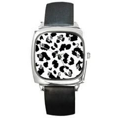 Leopard Skin Square Metal Watch
