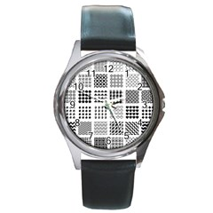 Retro Patterns Round Metal Watch
