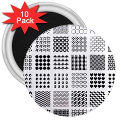 Retro Patterns 3  Magnets (10 Pack)