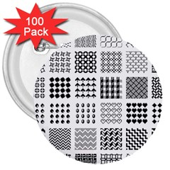 Retro Patterns 3  Buttons (100 pack)