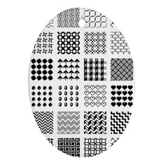 Retro Patterns Oval Ornament (Two Sides)