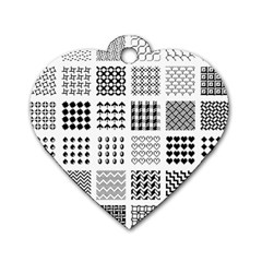 Retro Patterns Dog Tag Heart (One Side)