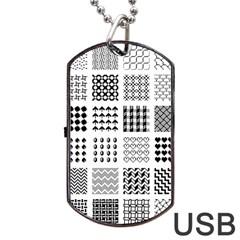 Retro Patterns Dog Tag USB Flash (One Side)
