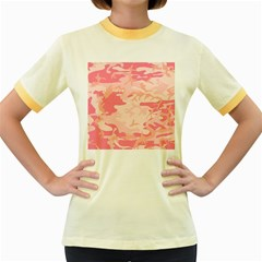 Pink Camo Print Women s Fitted Ringer T Shirts