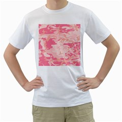 Pink Camo Print Men s T Shirt (white) (two Sided)