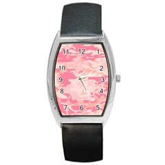 Pink Camo Print Barrel Style Metal Watch