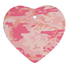 Pink Camo Print Heart Ornament (two Sides)