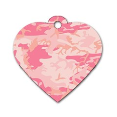 Pink Camo Print Dog Tag Heart (Two Sides)