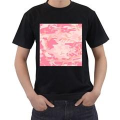 Pink Camo Print Men s T-Shirt (Black)