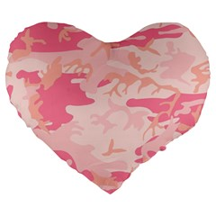 Pink Camo Print Large 19  Premium Heart Shape Cushions