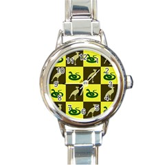 Bird And Snake Pattern Round Italian Charm Watch