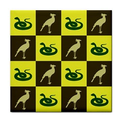 Bird And Snake Pattern Tile Coasters