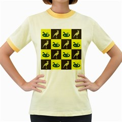 Bird And Snake Pattern Women s Fitted Ringer T Shirts