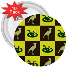 Bird And Snake Pattern 3  Buttons (10 pack)