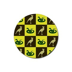 Bird And Snake Pattern Rubber Round Coaster (4 pack)