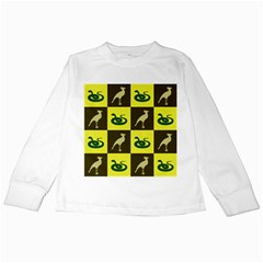 Bird And Snake Pattern Kids Long Sleeve T Shirts