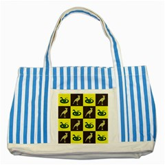 Bird And Snake Pattern Striped Blue Tote Bag