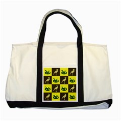 Bird And Snake Pattern Two Tone Tote Bag