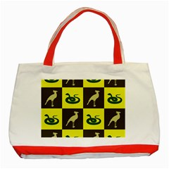 Bird And Snake Pattern Classic Tote Bag (red)
