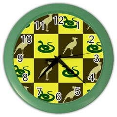 Bird And Snake Pattern Color Wall Clocks