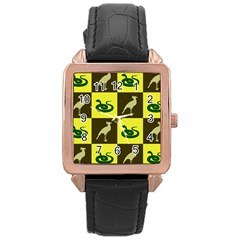 Bird And Snake Pattern Rose Gold Leather Watch