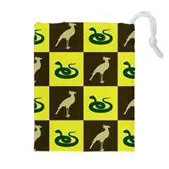 Bird And Snake Pattern Drawstring Pouches (extra Large)