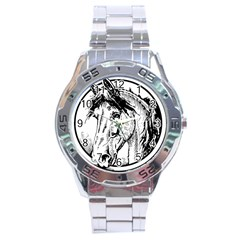 Framed Horse Stainless Steel Analogue Watch